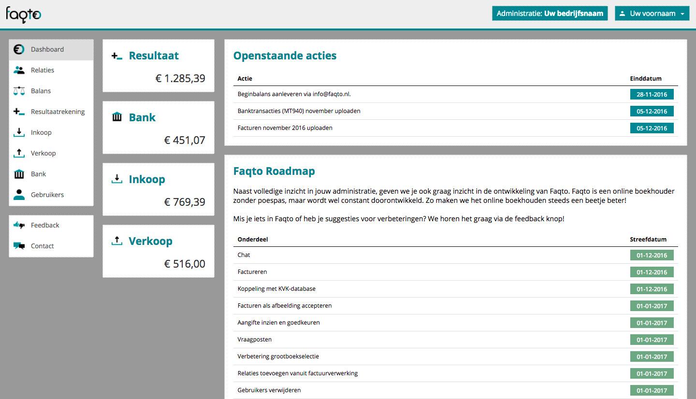 screenshot Faqto Online Boekhouder