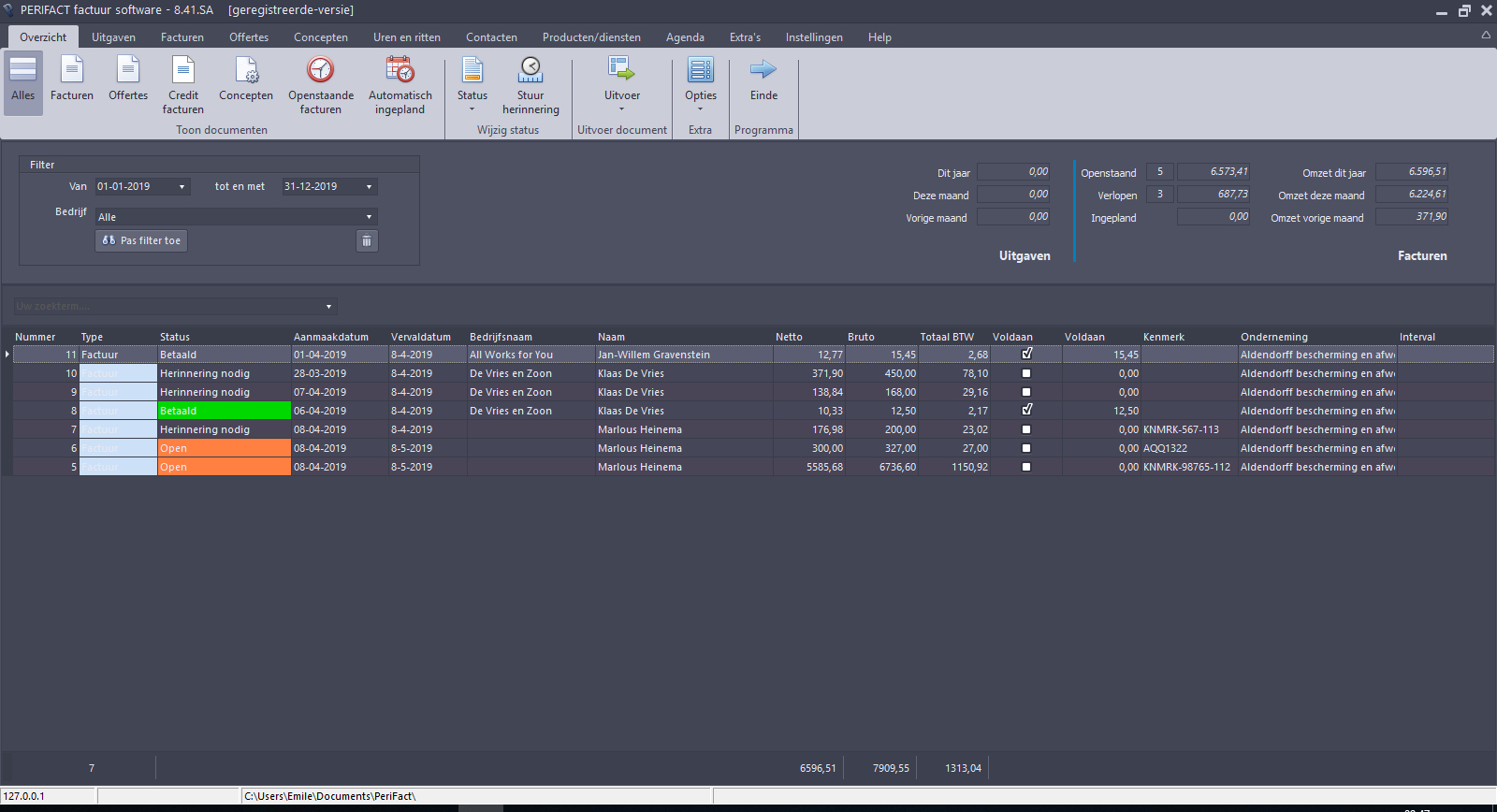 screenshot PERIFACT Factuurprogramma