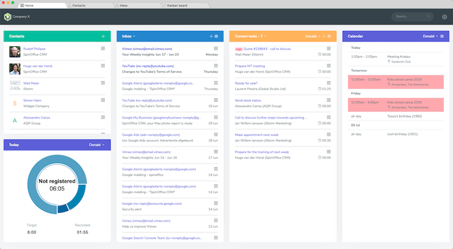 screenshot SpinOffice CRM