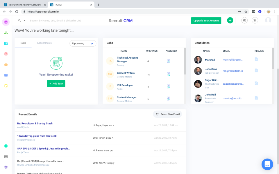 screenshot Recruit CRM