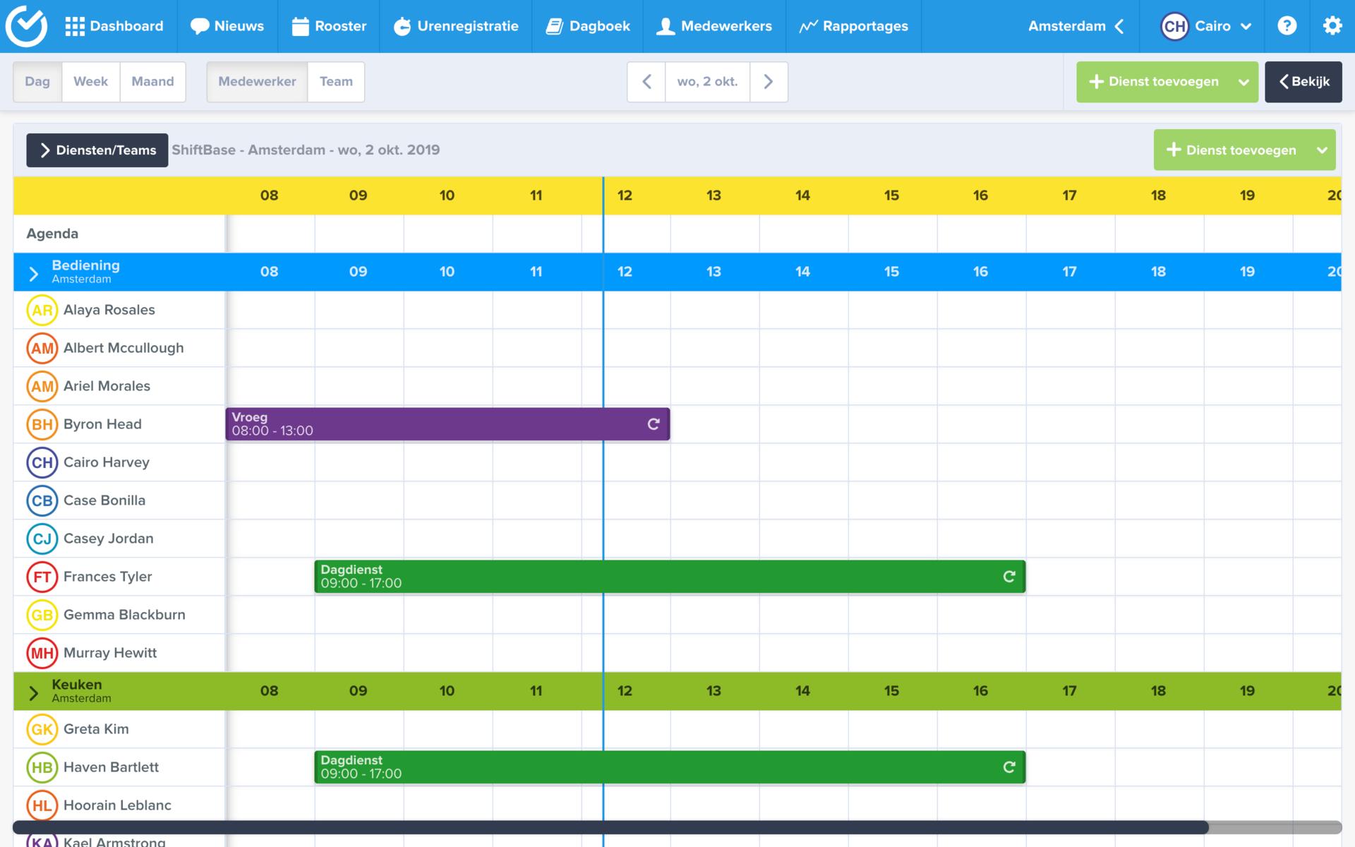 screenshot Shiftbase
