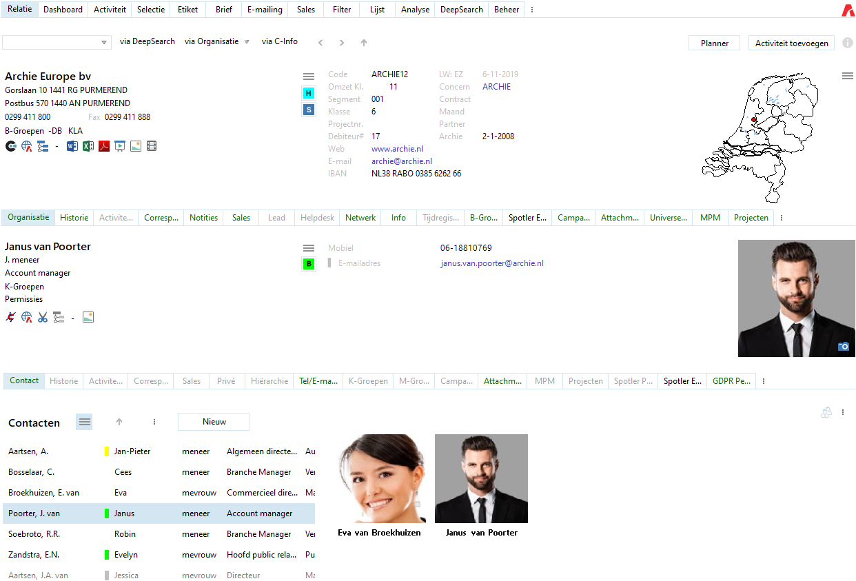 screenshot Archie CRM